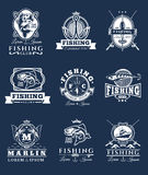 Set of vector badges, stickers on catching fish. Stock Image