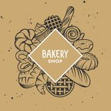 Set of vector bakery engraved elements. Typography design Royalty Free Stock Photo