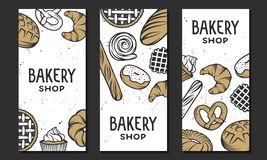 Set of vector bakery engraved elements. Typography design Royalty Free Stock Photography