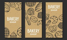 Set of vector bakery engraved elements. Typography design Stock Photos