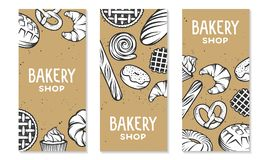 Set of vector bakery engraved elements. Typography design Royalty Free Stock Images
