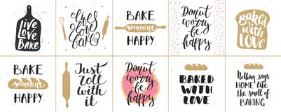 Set of vector bakery lettering posters, greeting cards. Decoration, prints. Hand drawn typography design elements. Handwritten lettering. Modern ink brush royalty free illustration