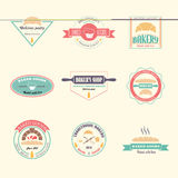 Set of vector bakery logos. Bread and pasteries labels, badges and design elements. Fresh baked goods Stock Image