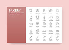 Set of Vector Bakery Pastry Elements and Bread Icons Illustratio Royalty Free Stock Photography