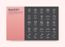 Set of Vector Bakery Pastry Elements and Bread Icons Illustratio Stock Photo