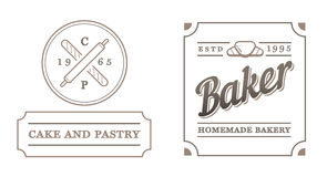 Set of Vector Bakery Pastry Elements and Bread Icons Illustratio Royalty Free Stock Image
