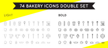 Set of Vector Bakery Pastry Elements. Thin and Thick Set Royalty Free Stock Photography