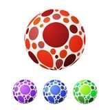Set of vector ball with colored circles. Bright balloons, red, b. Lue, green and purple. Vector illustration ball isolated on white background Royalty Free Stock Image