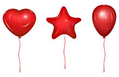 Set of Vector Baloons. Red vector holiday balloons with ribbons. Heart, Star and simple form. Vector Illustration, isolated on white background stock illustration
