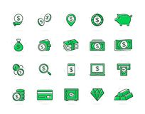 Set of vector bank and money colored line icons. Coin, cash, card, credit, atm, diamont, wallet, gold, deposit, purse. Vector symbol or icon design element for Royalty Free Stock Photography