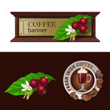 Set of vector banner, badge, sticker with icon coffee berry and Irish coffee Royalty Free Stock Photos