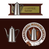 Set of vector banner, badge, sticker with icon coffee pot Stock Photos