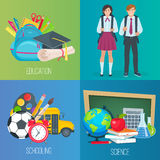 Set of vector banners back to school. Royalty Free Stock Image