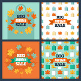 Set of vector banners and backgrounds for autumn sale. Royalty Free Stock Photos