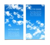 Set of vector banners with blue sky and realistic clouds. stock photo