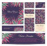Set of vector banners, business card, frame and Stock Image