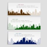 Set of vector banners with city silhouettes,flat style. Cover template for architectural design Stock Photography
