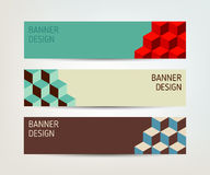 Set of vector banners with cubes. In vintage colors vector illustration