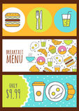 Set of vector banners with food background. Menu design for cafe Stock Image