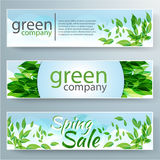 Set of vector banners with fresh green leaves for Stock Image
