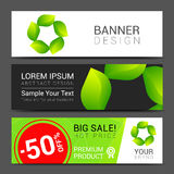 Set vector banners fresh green leaves Spring or Stock Photo