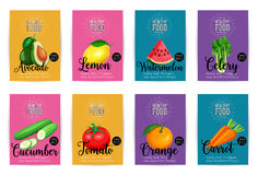 Set of vector banners with fruits Royalty Free Stock Images