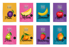Set of vector banners with fruits Royalty Free Stock Image