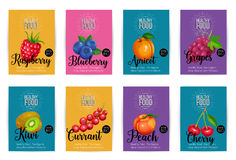 Set of vector banners with fruits Stock Photography