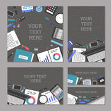 Set of vector banners management and administration. The concept set of banners marketing and management, office tools objects and devices, flat symbol top view Royalty Free Stock Photos