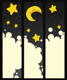 Set of vector banners with night Royalty Free Stock Images