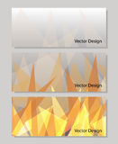Set of vector banners with polygonal background. A set of horizontal vector banners with abstract flame triangle geometric  background Royalty Free Stock Photography