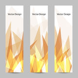 A set of vector banners with polygonal background. A set of modern vector banners with abstract flame triangle geometric  background Stock Photos