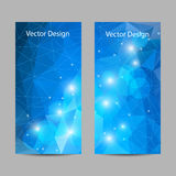 Set of vector banners with polygonal background. A set of modern vector banners with blue polygonal background Royalty Free Stock Image