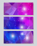 Set of vector banners with polygonal background. A set of modern vector banners with blue and violet polygonal background Royalty Free Stock Photo