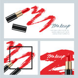 Set of vector banners with red lipstick and lipstick smears  Royalty Free Stock Photography