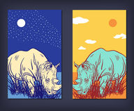 A set of vector banners with rhinoceros Stock Photos