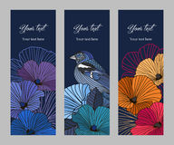 Set of vector banners. Set romantic vintage vertical banners, colorful abstract flowers and bird with the contours on dark background, greetings for birthday Stock Photo