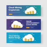 Set of vector banners with stacks of coins and a cloud with a ch. Ip for the crypto currency. Templates for web purple and blue with gradients Stock Image