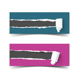 Set of vector banners torn paper with scroll and ripped edges Royalty Free Stock Photos