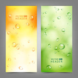 Set of vector banners with water drops on glass Stock Photography