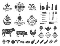 Set of vector barbecue logo, labels and icons Stock Photos