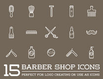 Set of Vector Barber Shop Elements Royalty Free Stock Photo
