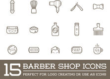 Set of Vector Barber Shop Elements Stock Photo
