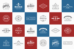 Set of Vector Barber Shop Elements and Shave Shop Icons Stock Image