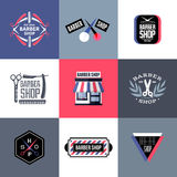 Set of vector barber shop labels, emblems and design elements Royalty Free Stock Photos