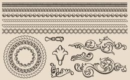 Set of vector baroque elements, chains for design stock illustration