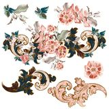 Set of vector baroque ornaments with flowers stock illustration