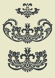 Set of vector baroque patterns for design. Vector ornaments in baroque style, isolate design elements. Full scalable vector graphic included Eps v8 and 300 dpi Royalty Free Stock Photos