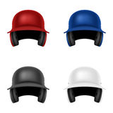 Set of vector baseball helmets. Isolated on white. Royalty Free Stock Photos