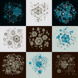 Set of vector Bauhaus abstract backgrounds made with grid and ov. Erlapping simple geometric elements, circles and honeycombs. Retro style artworks, graphic Royalty Free Stock Photo